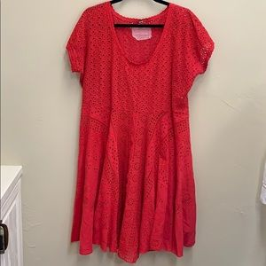 Vintage Johnny Was - Cotton eyelet red Dress